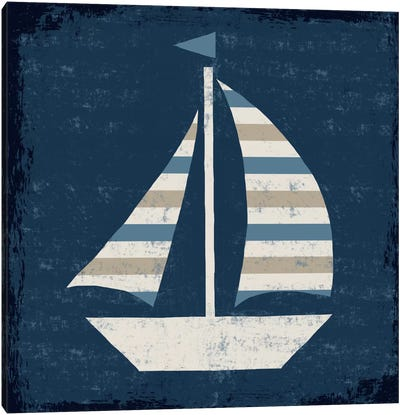 Nautical Love (Sail Boat II) Canvas Print #WAC3915
