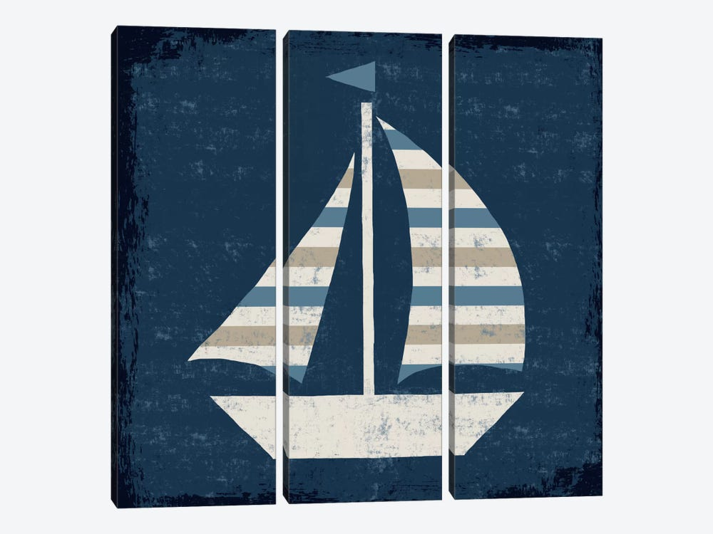 Nautical Love (Sail Boat II) by Michael Mullan 3-piece Canvas Wall Art