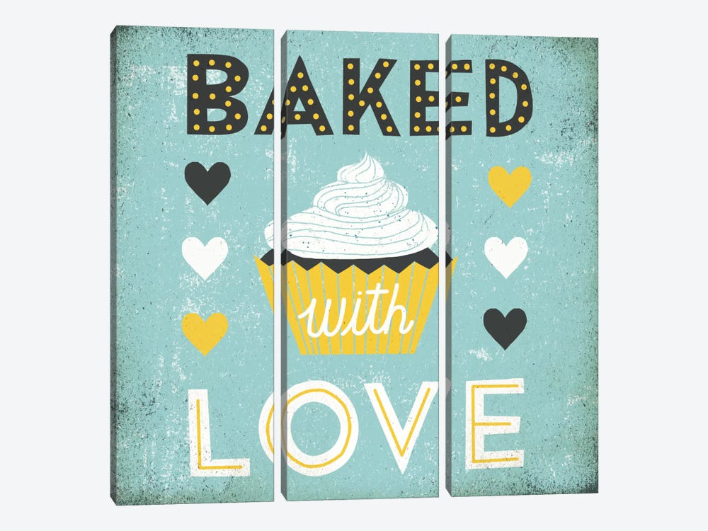 Retro Diner (Baked with Love) by Michael Mullan 3-piece Canvas Print