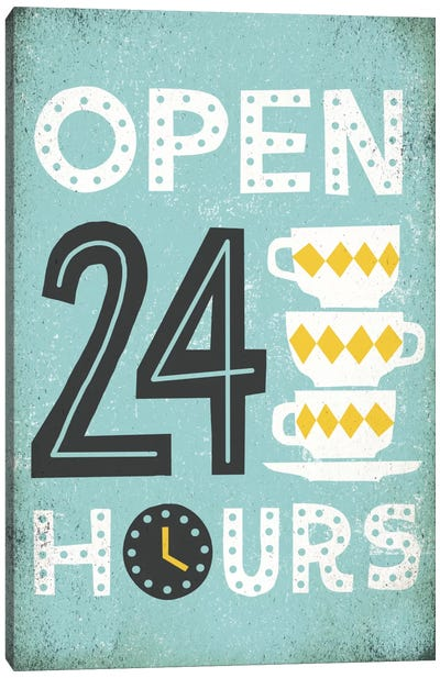Retro Diner (Open 24 Hours I) Canvas Print #WAC3920