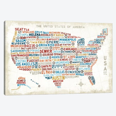US City Map Canvas Print #WAC3923} by Michael Mullan Canvas Print