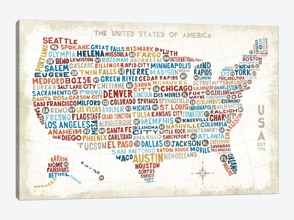 US City Map by Michael Mullan 1-piece Canvas Art Print