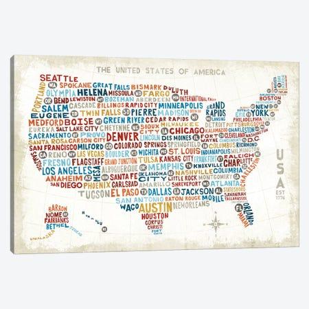 US City Map Canvas Print #WAC3923} by Michael Mullan Canvas Print