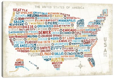 US City Map Canvas Art Print