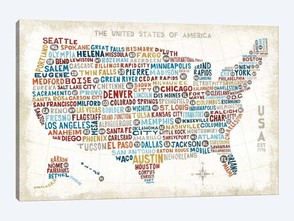 US City Map by Michael Mullan 1-piece Canvas Art Print
