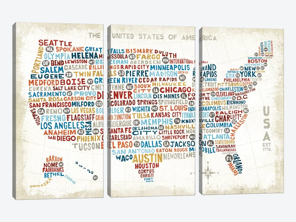 US City Map by Michael Mullan 3-piece Canvas Print