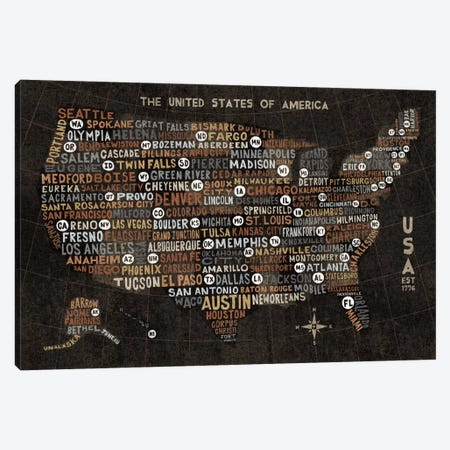 US City Map (Black with States) Canvas Print #WAC3924} by Michael Mullan Canvas Art