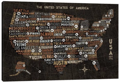 US City Map (Black with States) Canvas Print #WAC3924