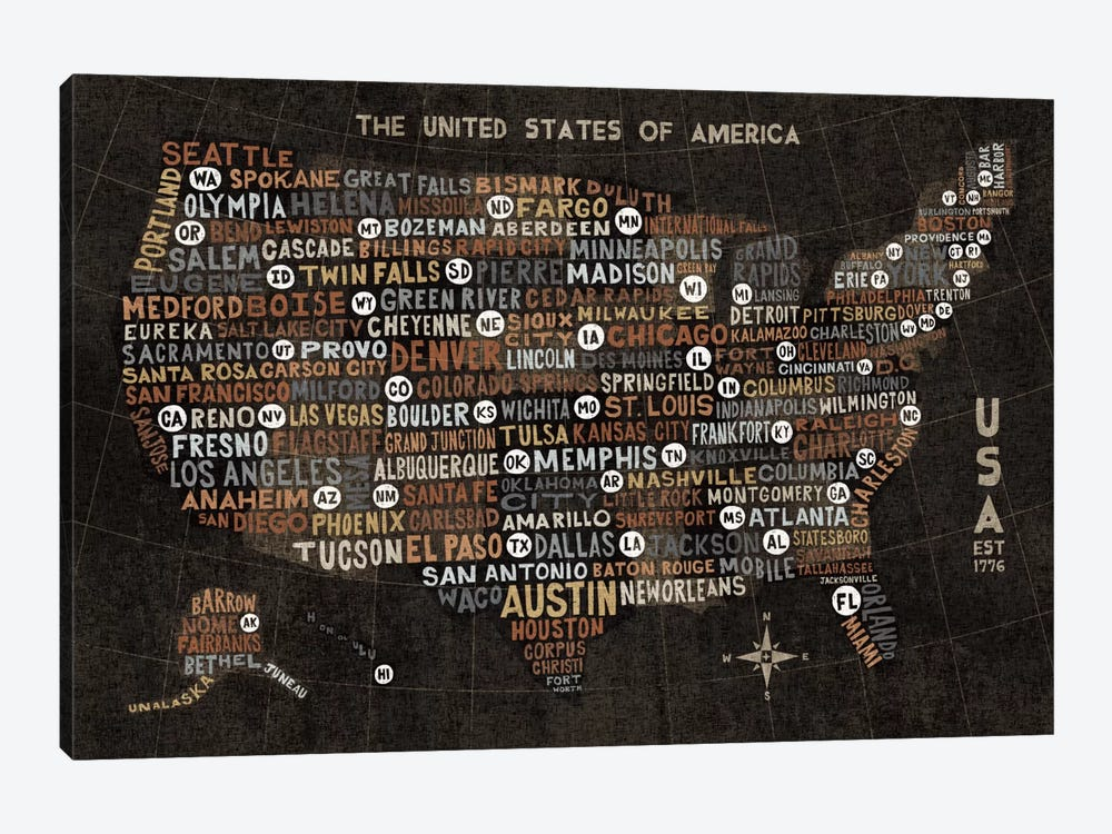 US City Map (Black with States) by Michael Mullan 1-piece Canvas Art