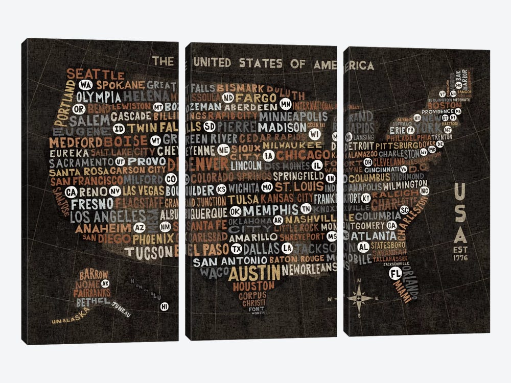 US City Map (Black with States) by Michael Mullan 3-piece Canvas Wall Art