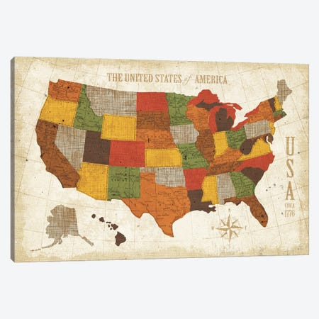 US Map (Modern Vintage Spice) Canvas Print #WAC3925} by Michael Mullan Canvas Wall Art