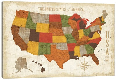 US Map (Modern Vintage Spice) Canvas Print #WAC3925