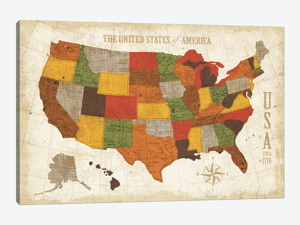 US Map (Modern Vintage Spice) Canvas Wall Art by Michael Mullan ...