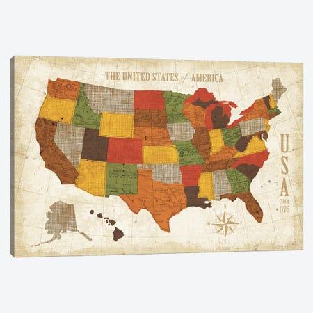 US Map (Modern Vintage Spice) Canvas Print #WAC3925} by Michael Mullan Canvas Wall Art