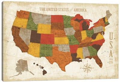 US Map (Modern Vintage Spice) Canvas Art Print
