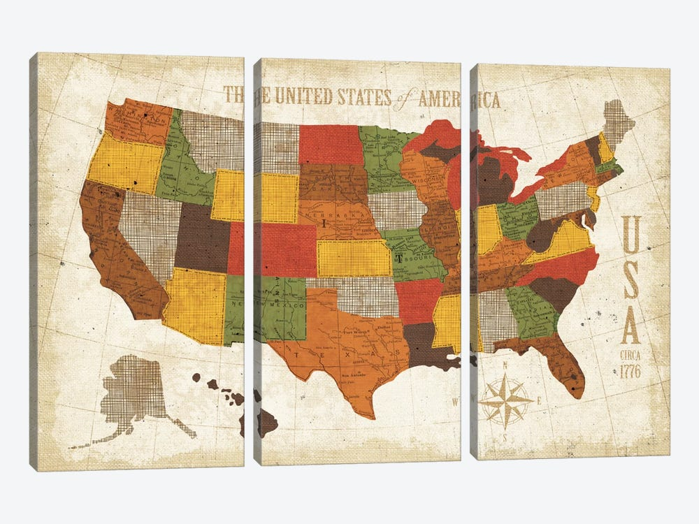 US Map (Modern Vintage Spice) by Michael Mullan 3-piece Art Print