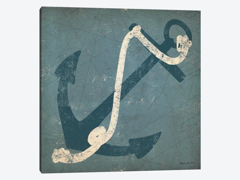 Nautical Anchor (Blue) by Ryan Fowler 1-piece Canvas Art
