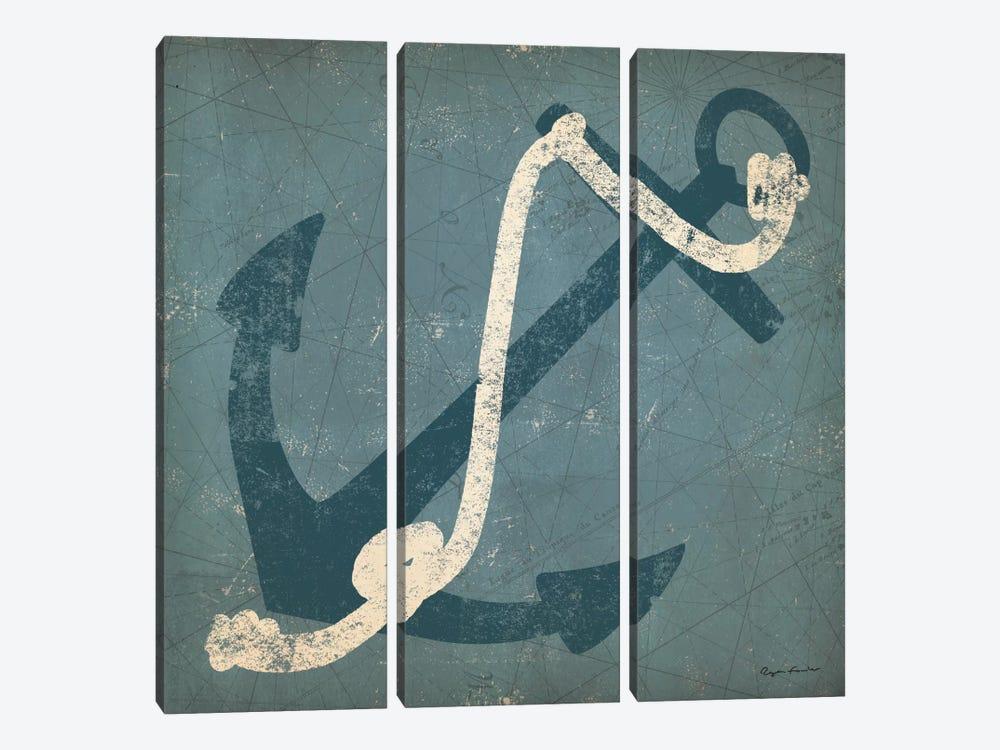 Nautical Anchor (Blue) by Ryan Fowler 3-piece Canvas Artwork