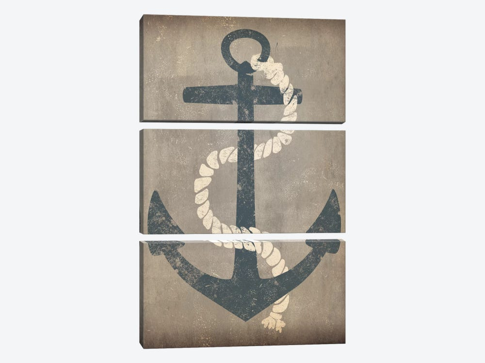 Nautical Anchor (Grey) by Ryan Fowler 3-piece Canvas Print