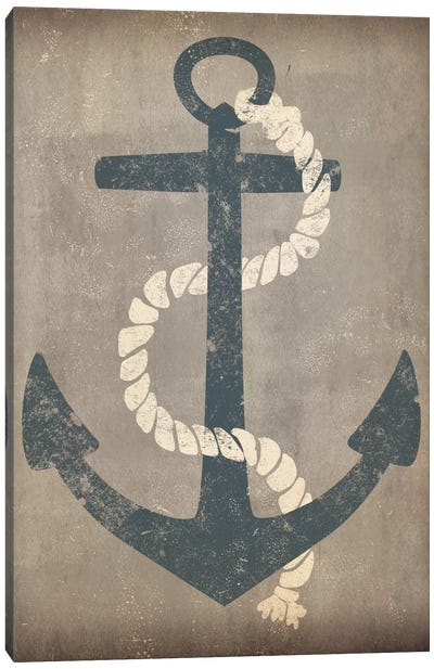 Nautical Anchor (Grey) Canvas Art Print