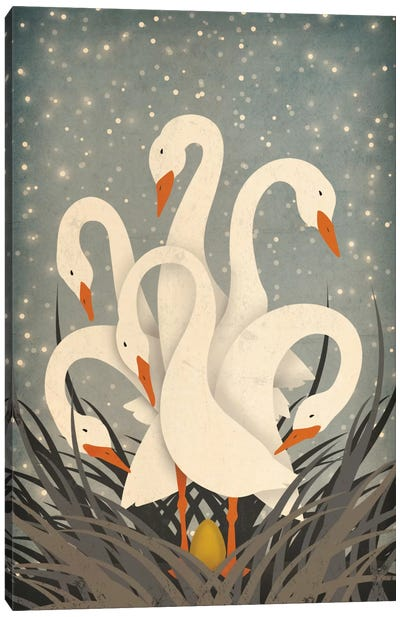 Six Geese A Laying Canvas Art Print