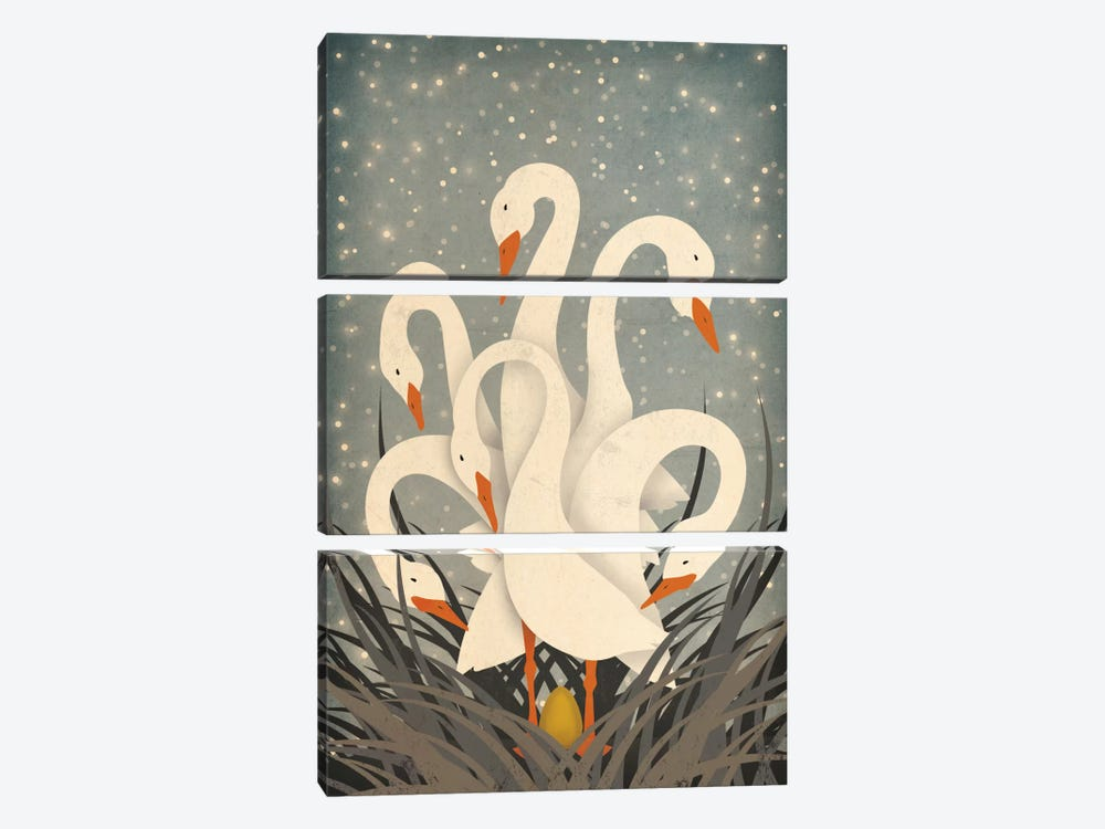 Six Geese A Laying by Ryan Fowler 3-piece Canvas Artwork