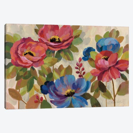 Coral and Blue Flowers Canvas Print #WAC3936} by Silvia Vassileva Art Print