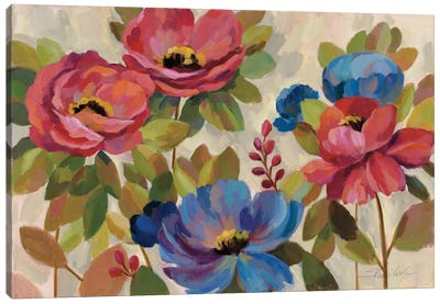 Coral and Blue Flowers Canvas Print #WAC3936