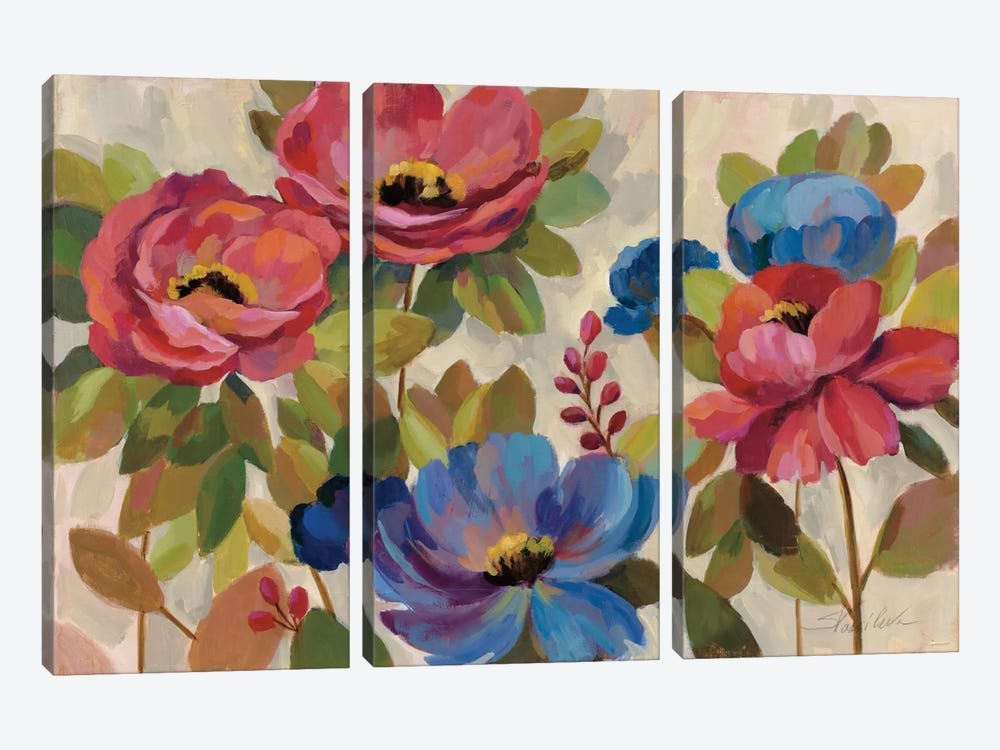 Coral and Blue Flowers by Silvia Vassileva 3-piece Canvas Art Print