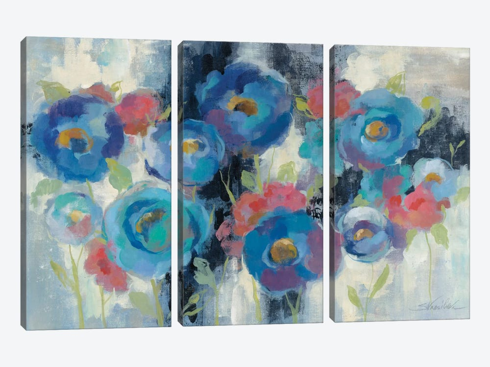 Day and Night Florals I by Silvia Vassileva 3-piece Canvas Artwork