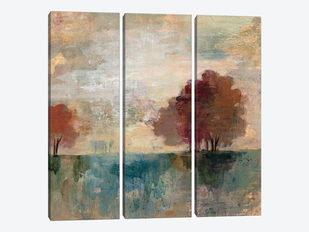 Landscape Monotype I by Silvia Vassileva 3-piece Canvas Wall Art