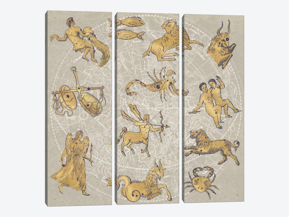 Gilded Zodiac by Sue Schlabach 3-piece Canvas Print