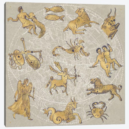 Gilded Zodiac Canvas Print #WAC3950} by Sue Schlabach Canvas Art