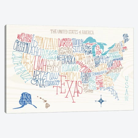 Hand Lettered US Map Canvas Print #WAC3951} by Sue Schlabach Canvas Art