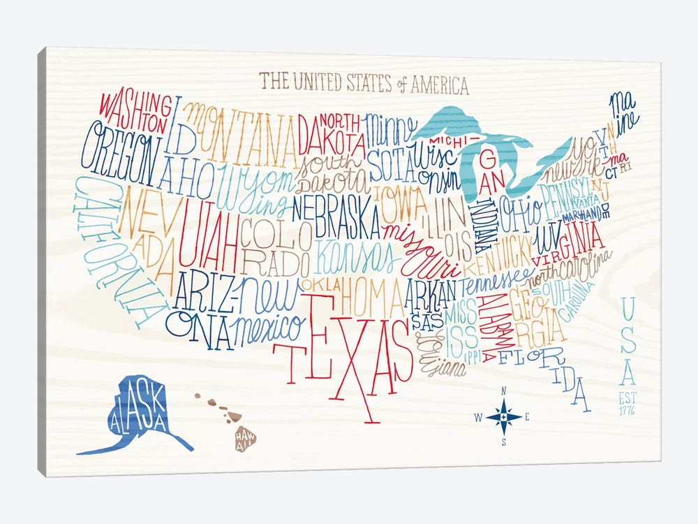 Hand Lettered US Map by Sue Schlabach 1-piece Canvas Artwork