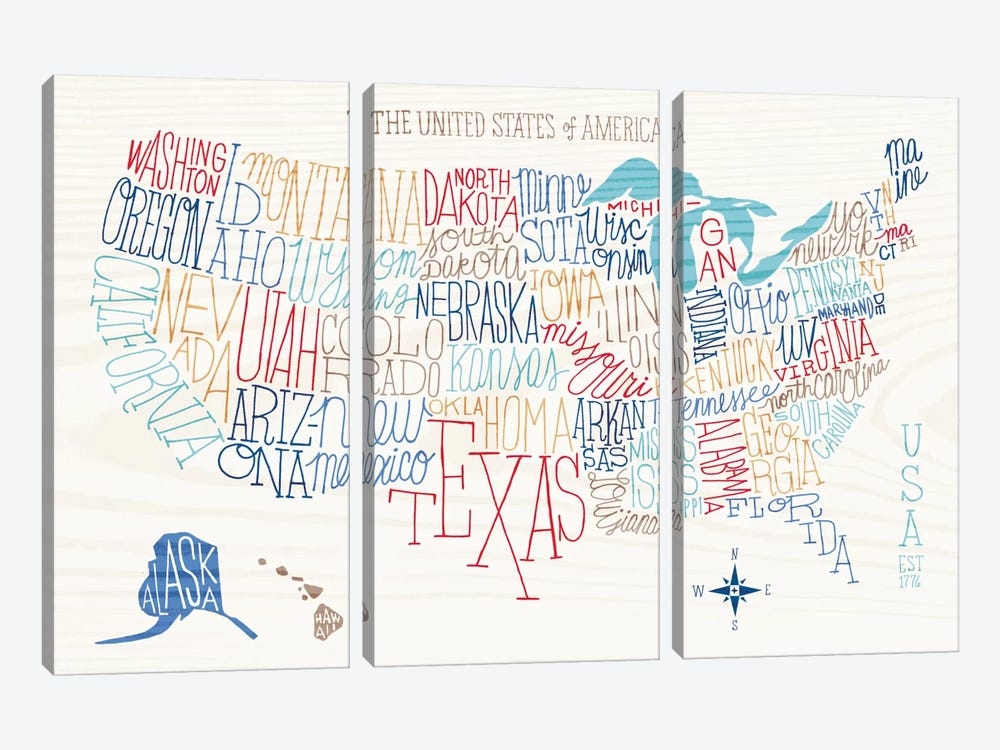 Hand Lettered US Map by Sue Schlabach 3-piece Canvas Art