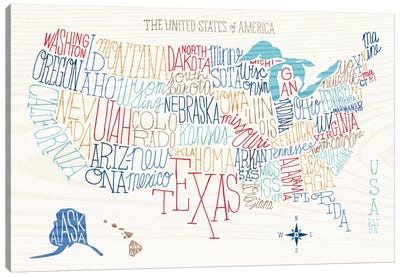 Hand Lettered US Map Canvas Art Print