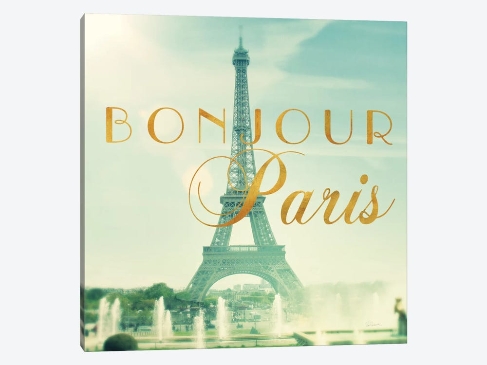 Paris Fountains Gold by Sue Schlabach 1-piece Canvas Art Print