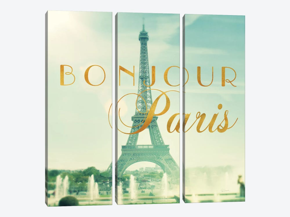 Paris Fountains Gold by Sue Schlabach 3-piece Art Print