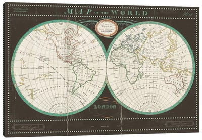 Torkingtons World Map Slate Canvas Art Print
