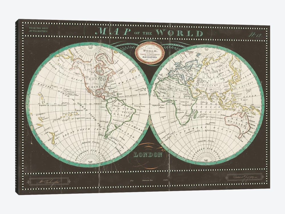 Torkingtons World Map Slate by Sue Schlabach 1-piece Canvas Art Print