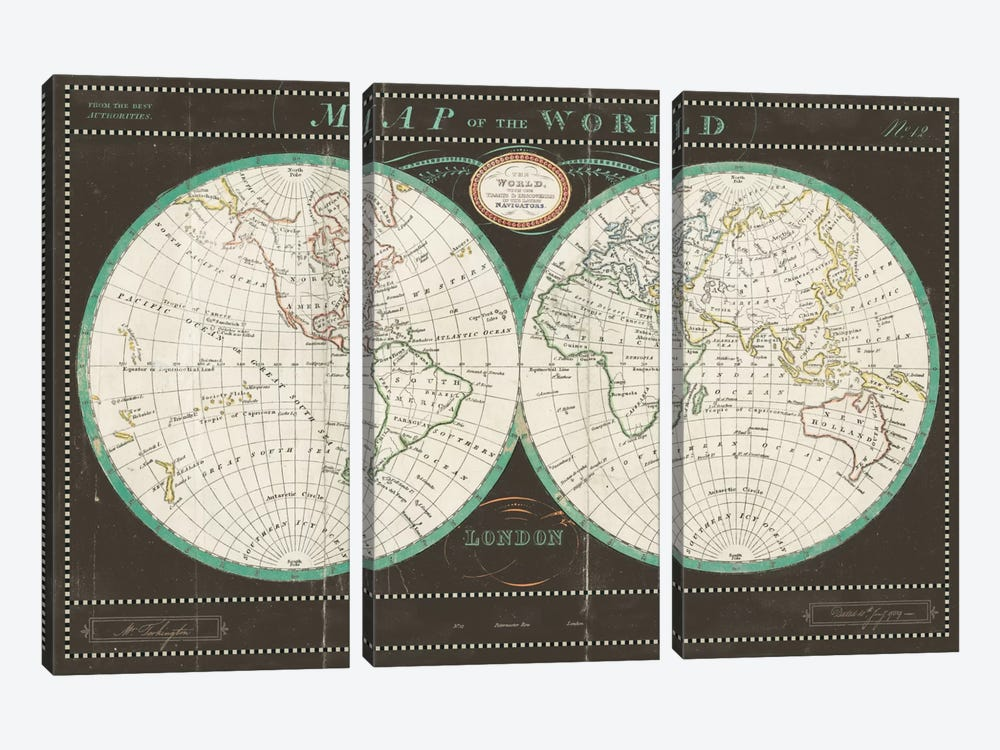 Torkingtons World Map Slate by Sue Schlabach 3-piece Canvas Print