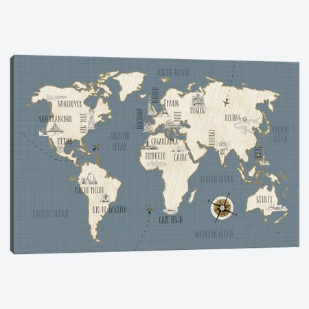 Doodles Map Canvas Print #WAC3964} by Veronique Charron Canvas Artwork