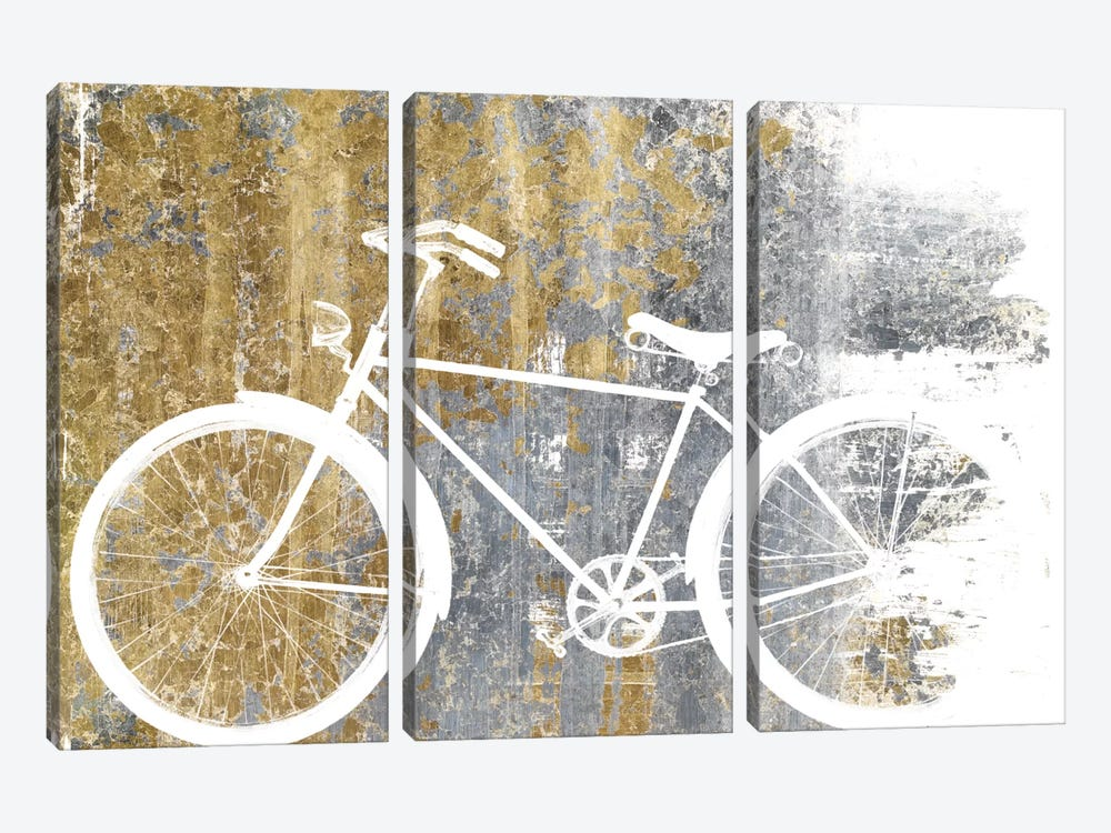 Gilded Bicycle by Wild Apple Portfolio 3-piece Canvas Print