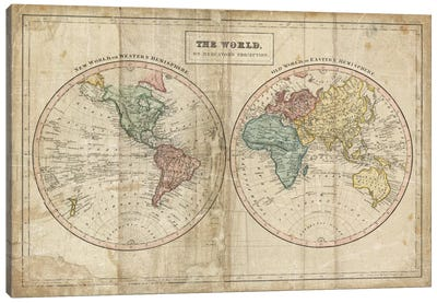 Old World (Eastern Hemisphere), New World (Western Hemisphere) Canvas Art Print