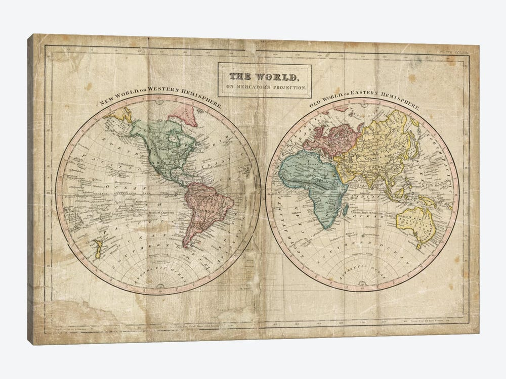 Old World (Eastern Hemisphere), New World (Western Hemisphere) by Wild Apple Portfolio 1-piece Canvas Art Print