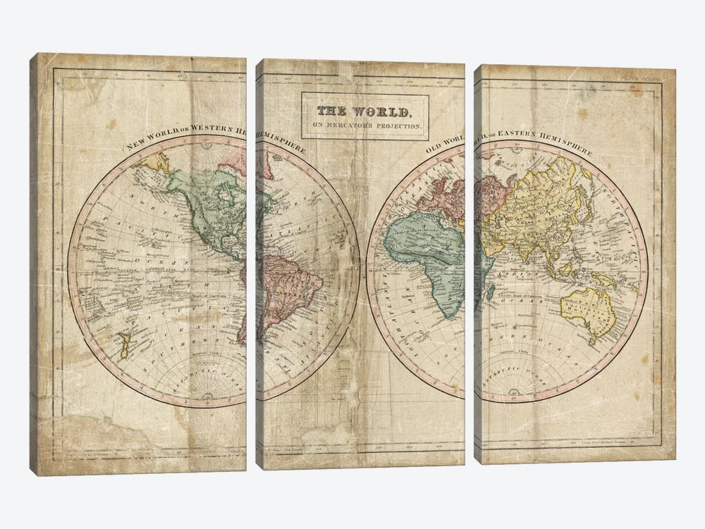 Old World (Eastern Hemisphere), New World (Western Hemisphere) by Wild Apple Portfolio 3-piece Art Print