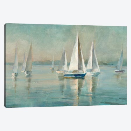 Sailboats at Sunrise Canvas Print #WAC3983} by Danhui Nai Canvas Print