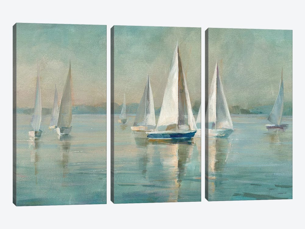 Sailboats at Sunrise by Danhui Nai 3-piece Canvas Art Print