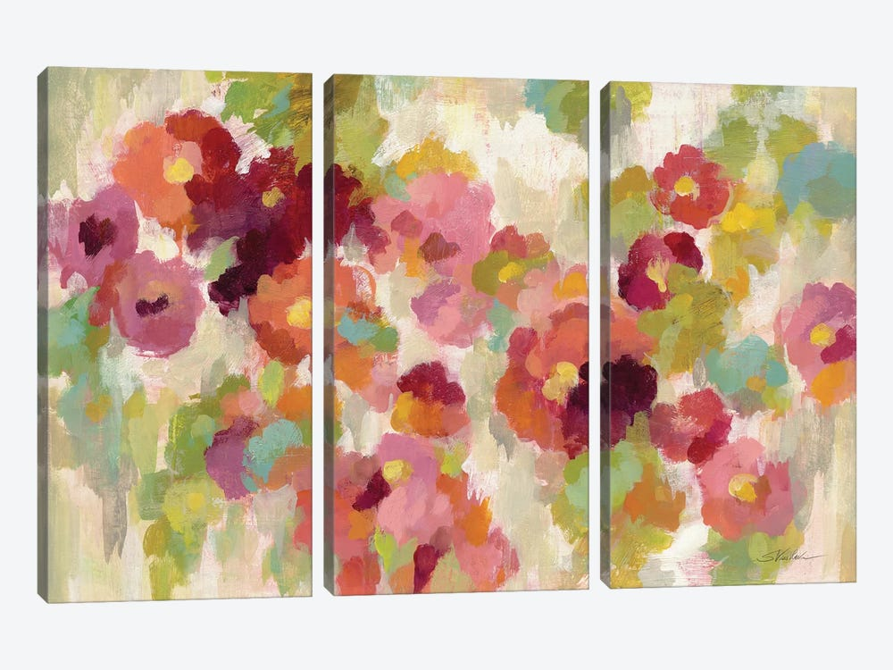 Coral and Emerald Garden I 3-piece Canvas Print